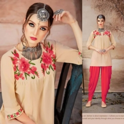 Littledesire Embroidered Work Round Neck Short Kurti Top