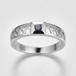 Littledesire Round Cut Black Zircon Silver 925 Ring