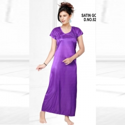 Littledesire Solid Pattern Short Sleeve Purple Satin Nighty