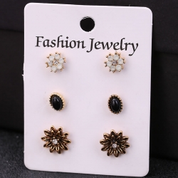Flowers & Water Zinc Alloy Stud Earrings 3 pcs Set