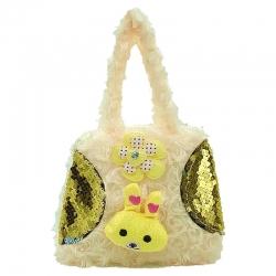Littledesire Cute Cartoon Faux Fur Sling Bag 6 inch