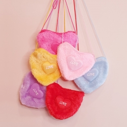 Birthday Party Return Gifts Fluffy Heart Shaped Sling Bag 6 Pcs