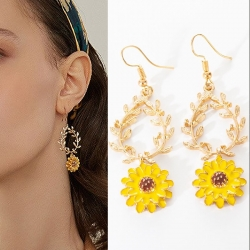 Flower Leaf Design Dangle Earrings