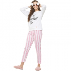 Printed Top & Striped Pants Night Suit Set
