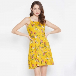 Yellow Floral Print Shoulder Strap Dress