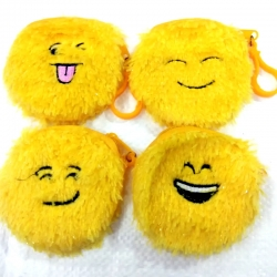 Round Emoji Face Plush Soft Mini Pouch Coin Purse Pack Of 4