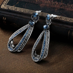 Stylish Jewellery Blue Stone Fancy Party Wear Earrings