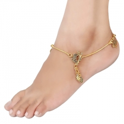 Peacock Design Golden Plated Anklets Payal