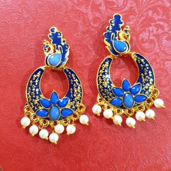 Peacock Design Chandbali Pearl Earrings