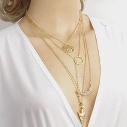 Golden Chain Latest Design Charm Choker Long Necklace