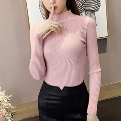 Solid Print Half Collar Slim Fit Sweater