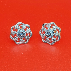 Silver Zircon Flower Earrings