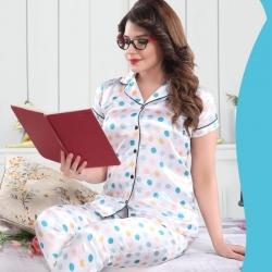 Dot Printed Top & Pajama Satin Night Suit Sleepwear