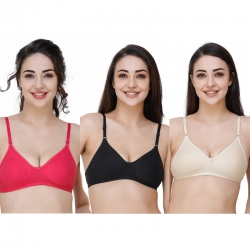 Hosiery Solid Plain Non Padded Seamless Moulded Bra Pack of 3