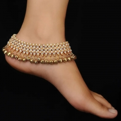 Golden Plated Kundan Payal With Ghungroo and Pearl
