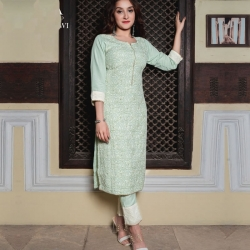 Designer Chikankari Work Straight Kurta With Pant