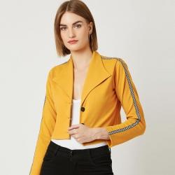 Side Stripes Mustard Solid Crop Women Jacket