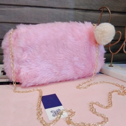 Soft Fluffy Puff Ball Sling Bag for Girls