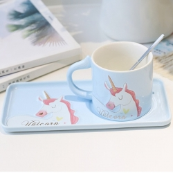 Style Unicorn Coffee Cup Saucer With Spoon