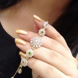 Flower Design Multi-Stone CZ Chain Bracelet