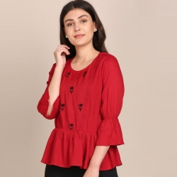Classic Front Yoke Embroidered Top