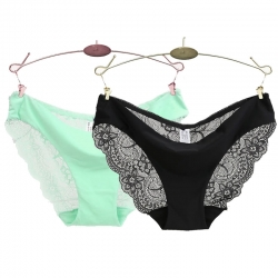 Floral Transparent Embroidery Seamless Low-Rise Panty (2 Pcs)