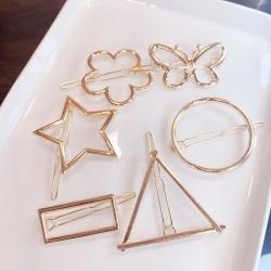 Elegant Metal Geometric Round Triangle Star Butterfly Hair Clip 6 pcs