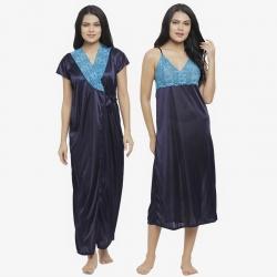 Lace design Satin Long Wrap Robe Sleepwear - 2 Pcs Set