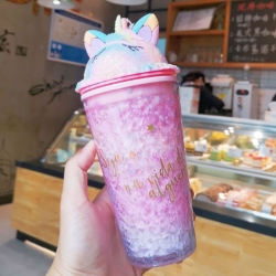 Double Layers Unicorn Ice Cup Straw Water Bottle & Milk Coffee Tea Cup