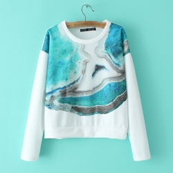 Cute O-Neck Printed Sweatshirt