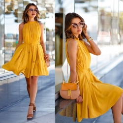 Sleeveless Chiffon Short Mini Dress
