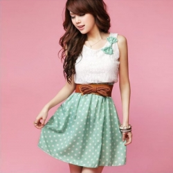 Chiffon Sleeveless Cute Bowknot Polka Dots Dress