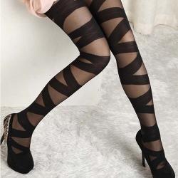 Sexy Pantyhose Vintage Black Ripped Stretch Leggings