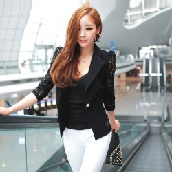 Lapel Lace Splicing Slim Blazer Black Coat