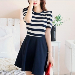 Dark Blue Striped Short Sleeve Dress
