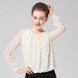 Polka Dot Round Neck Long Sleeve Chiffon Top