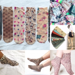 Ultra Thin Printed Ankle Socks (4 Pairs Set)