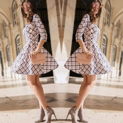 Plaid Checked Mini Dress with Back Zipper