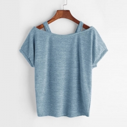 Open Shoulder Slub Tees