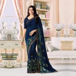 Blue Georgette Printed Saree with Bangalori Blouse