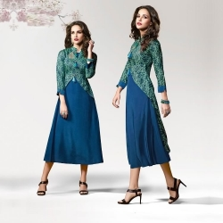 Jacket Style Layered Silk Crape Designer Kurta