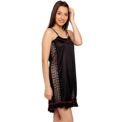 Frill Black Sleeveless Satin Sleepwear