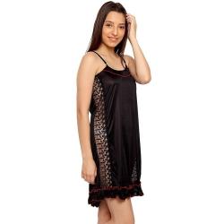 Frill Black Sleeveless Satin Sleepwear