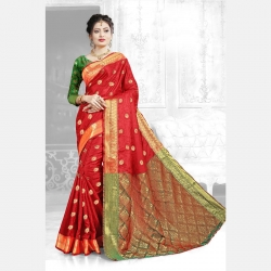 Littledesire Red Saree With Jacquard Work