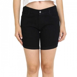 Littledesire Mid-Rise Denim Stretchable Solid Black Girls Shorts