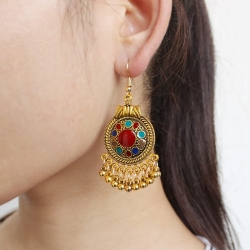 Bohemian Round Pendant Party Wear Earrings