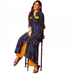 Littledesire Dark Blue Stylish A-Line Printed Long Kurta