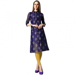 Littledesire A-Line with Button Foil Printed Kurta