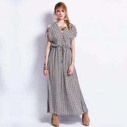 Deep V Neck Ankle Length Elegant Dress