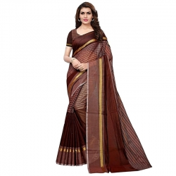 Littledesire Brown Chanderi Saree With Blouse